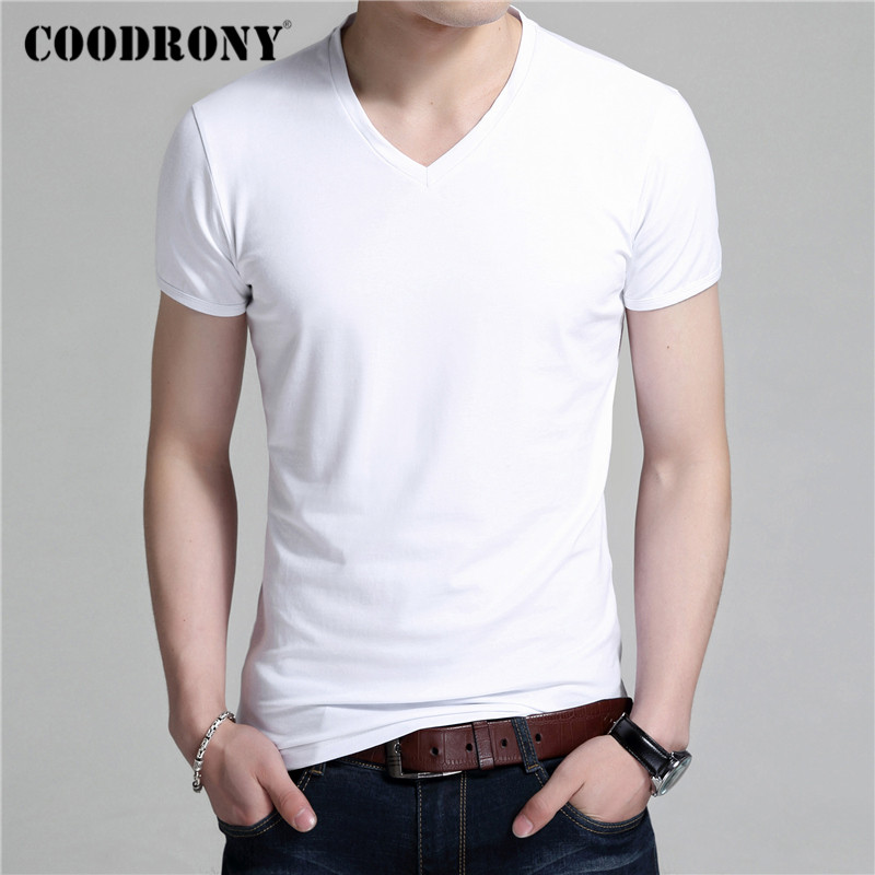 COODRONY Summer Short Sleeve T Shirt Men Classic Pure Color V-neck Bottoming T-Shirt Men Clothes Cotton Tee Shirt Homme C5018S