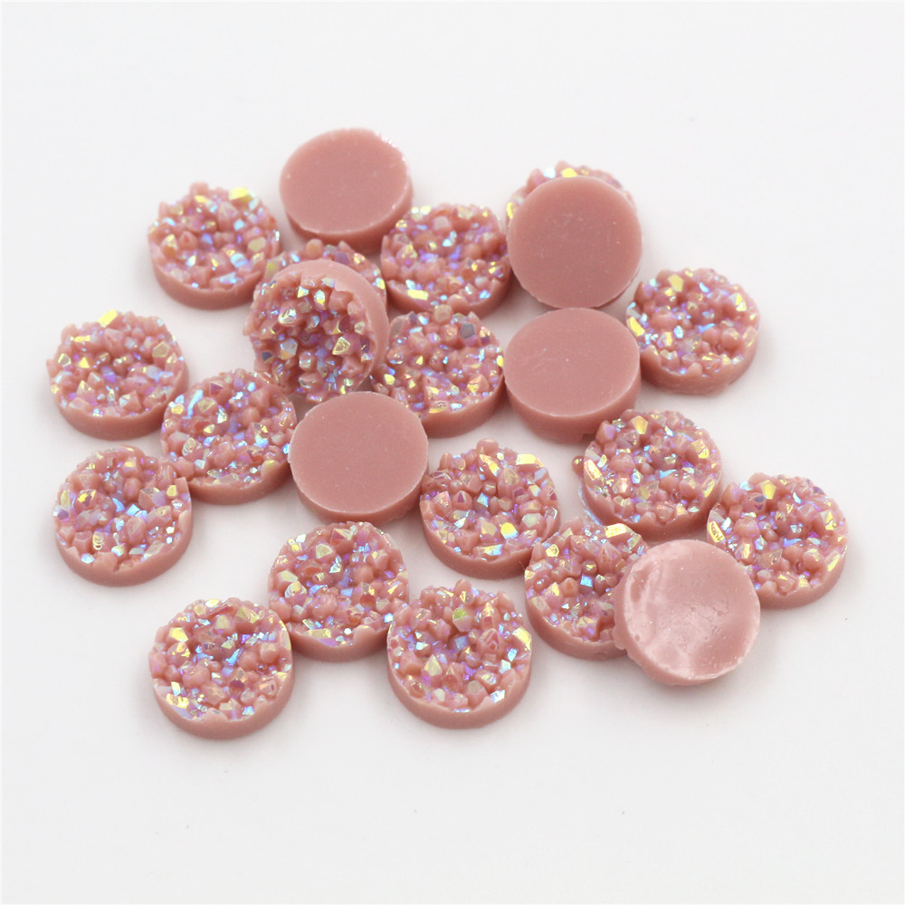 Fashion 40pcs 8mm 10mm 12mm Light Peach Ab Color Natural Ore Style Flat Back Resin Cabochons For Bracelet Earrings Accessories