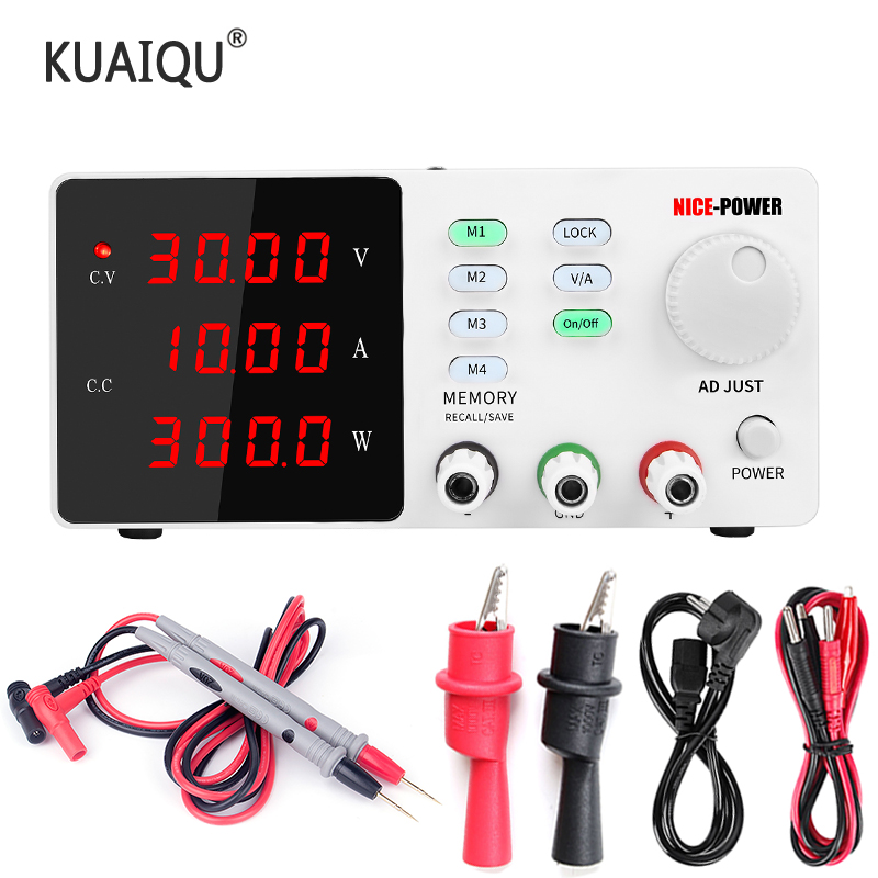 KUAIQU 30V 10A Precision Adjustable Digital Programmable Laboratory Switch DC Power Supply 60V Current Stabilizer USB Protect