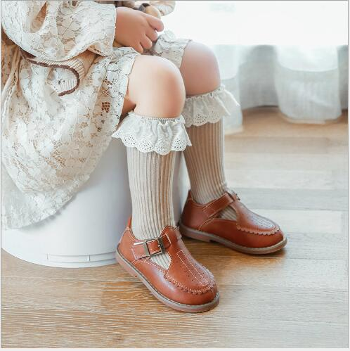 0-8 Y Autumn new children's socks double needle loose mouth baby lace girls tube socks combed cotton children's sock 2