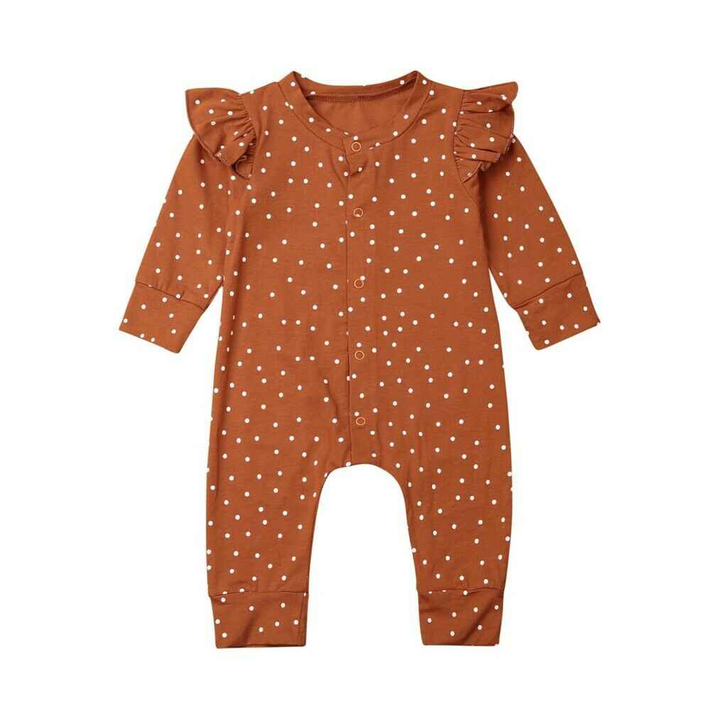 New Baby Girl Polka Dots Romper Jumpsuit Playsuit Outfit Autumn Clothes