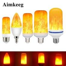 Bombilla LED de llama E27, 3W, 5W, 7W, 9W, Bombilla de maíz, luz LED parpadeante creativa, efecto de llama dinámico, lámpara de iluminación E14 de 110V 220v para el hogar