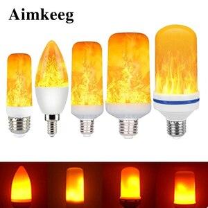 Image 1 - LED E27 Flame Bulb 3W 5W 7W 9W Corn Bulb Creative Flickering LED Light Dynamic Flame Effect 110V 220v E14 Lighting Lamp for Home