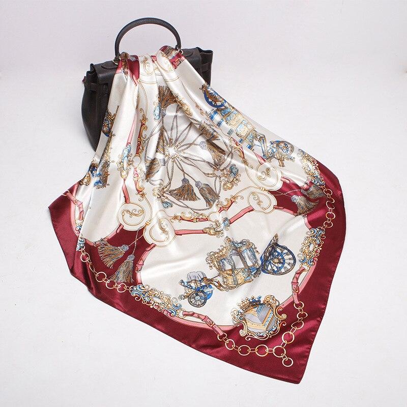 90X90cm Spring Simulation Silk Turban Female Big Square Carriage Chain Pattern Gift Silk Scarf Elegant Soft Scarf Women 2020