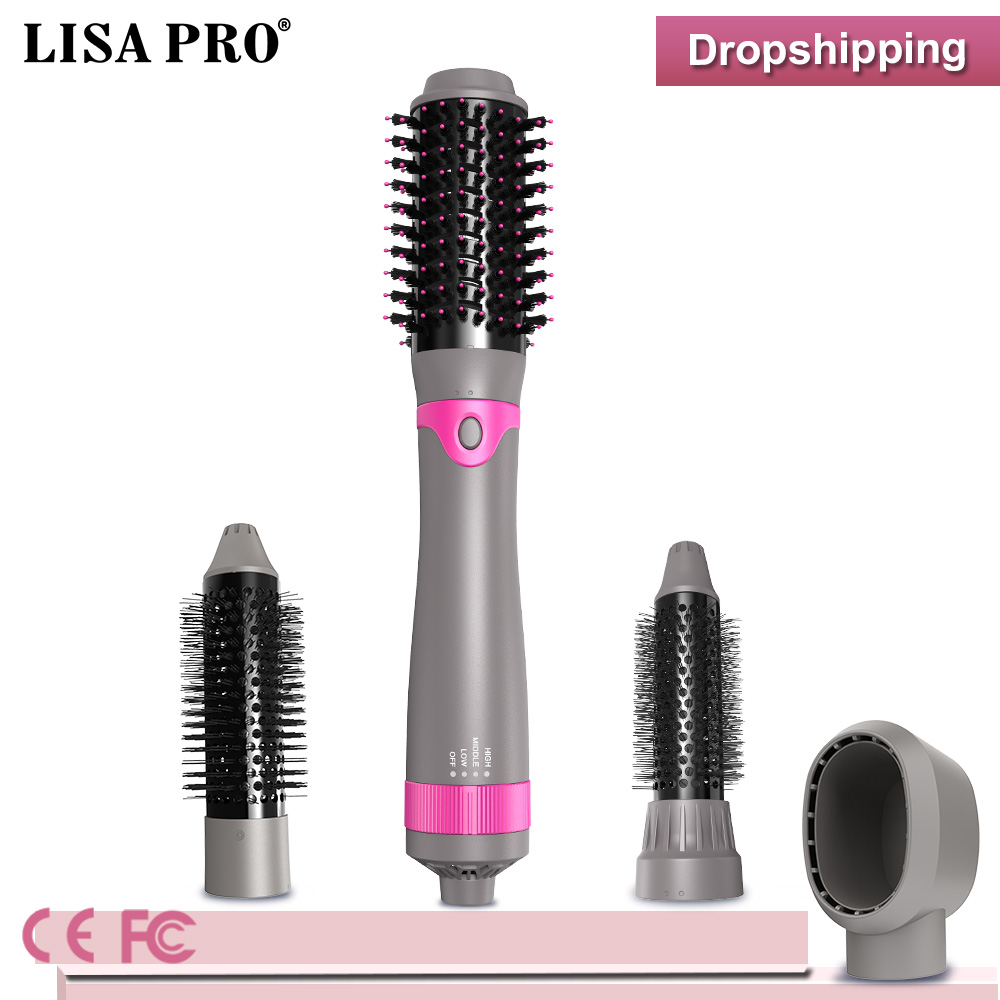 LisaPro New 2019 Hair styler 4 In 1 Electronic Hair Brush Hot Air Comb Curling iron brush hair straightener dry hair tool