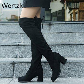 2020 jesienne i zimowe buty damskie buty damskie nowe klasyczne do kolan buty damskie duży rozmiar Zapatos De Mujer tanie i dobre opinie Wertzk CN (pochodzenie) Flock Podkolanówki Riband Stałe women shoes Plac heel Podstawowe Sztuczne Fluf Szpiczasty nosek