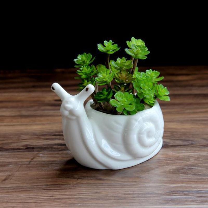 Wholesale Mini Ceramic Flower Pot Cartoon Snail Planter For Succulents Cactus Desktop Pots Home Garden Decor