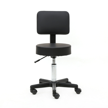 Round Shape Plastic Adjustable Salon Stool with Back Black  Suitable for any environment, such as salon, home and office - discount item  7% OFF Commercial Furniture