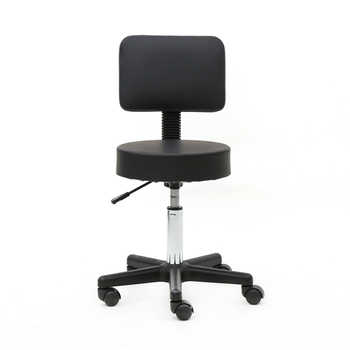 Round Shape Plastic Adjustable Salon Stool with Back Black Suitable for any environment, such as salon, home and office - DISCOUNT ITEM  5 OFF Furniture