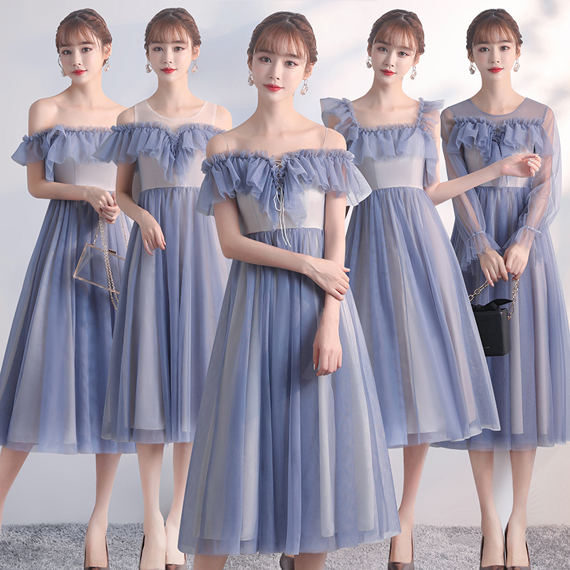 Burgundy Bridesmaid Dress Plus Size Tulle Maid Of Honor Dresses For Weddings Sleeveless Tea-Length Dress Prom Azul Royal Vestido