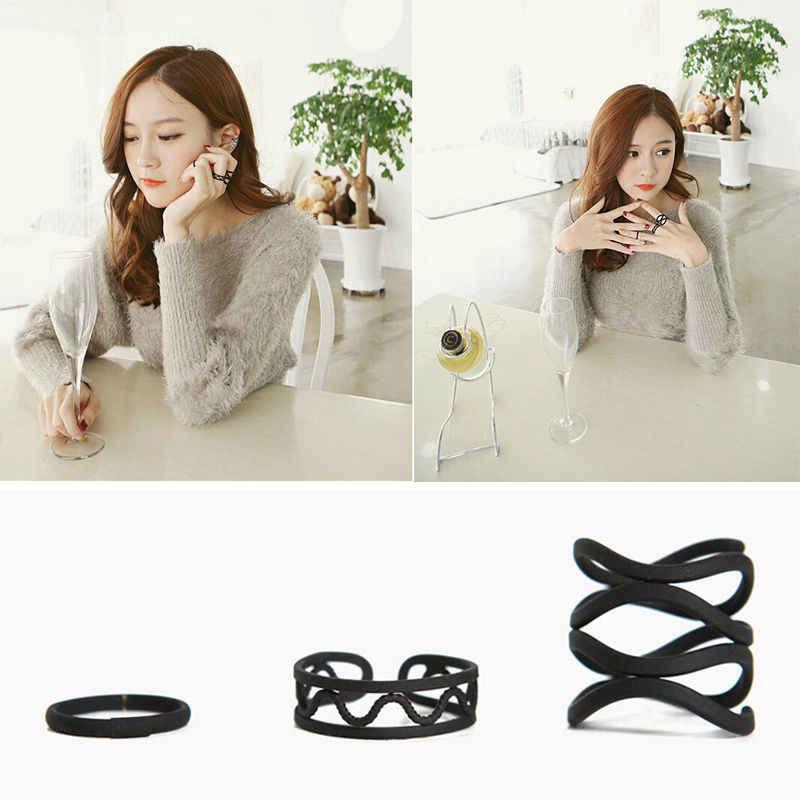 Hot MIDI Finger TIP แหวนชุดเครื่องประดับเกาหลีสไตล์ Punk แหวนสีดำ STACK PLAIN Knuckle แหวน