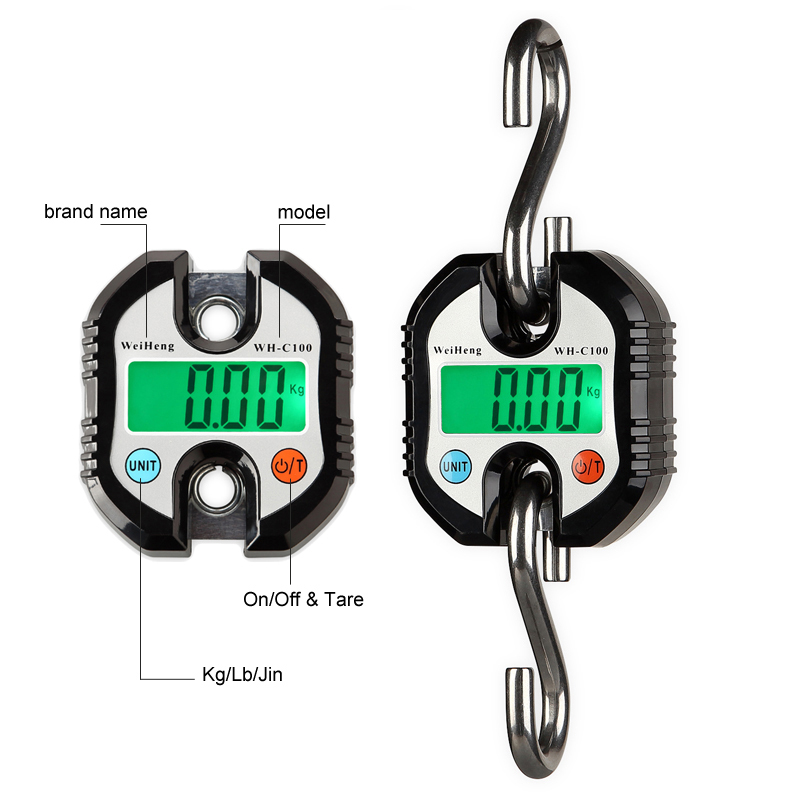Portable Industry Crane Scale Heavy Duty Digital Hanging Hook Scales LCD Loop Weight Balance Stainless Steel