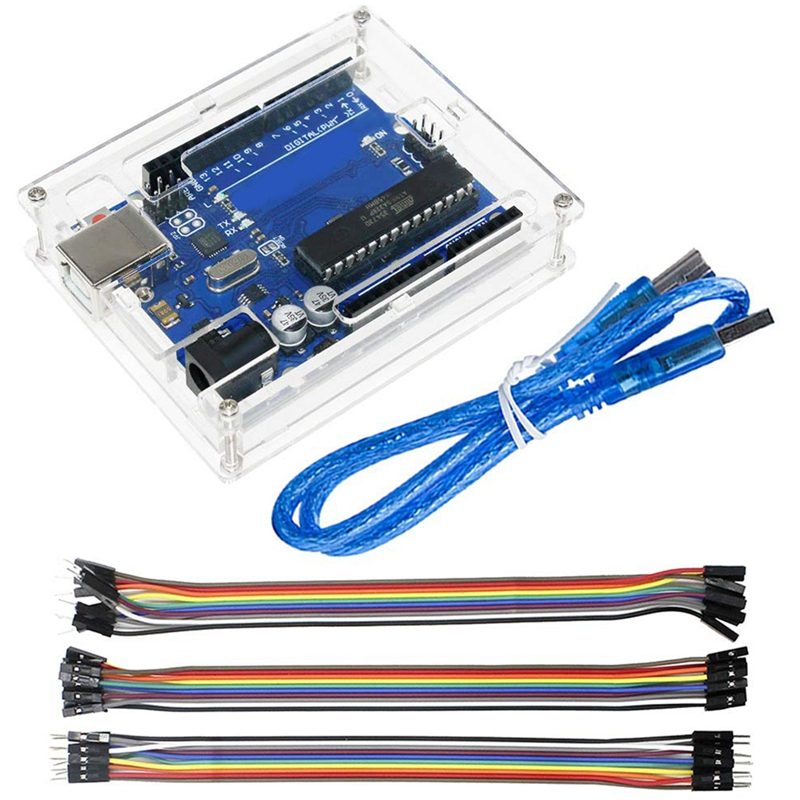 Uno R3 Atmega328P Atmega16U2 Microcontroller Development Board Compatible For Arduino Uno R3 Ide With Usb Cable And Transparent