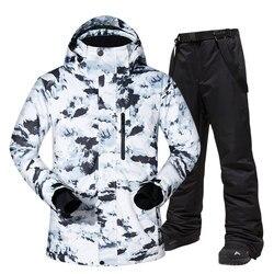 Traje de esquí cálido para hombre, chaquetas y pantalones de invierno para deportes al aire libre y resistentes al viento, equipamiento de esquí caliente, chaqueta de Snowboard de marca para hombre