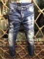 Европейские Новые итальянские брендовые джинсы Известные дизайнерские рваные брюки джинсы A180