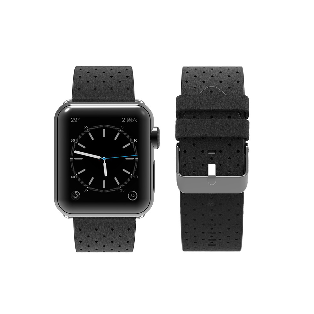 Suitable For APPLE Watch One Two Three Generation Universal 38/42 Size Breathable Porous Punched-Leather Watch Strap