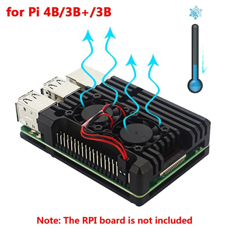 Raspberry Pi 4 Aluminum Metal Case Raspberry Pi 3 Aluminum Case Box With Dual Fan Heat Sink For Raspberry Pi 4 3 Model B 3B Plus