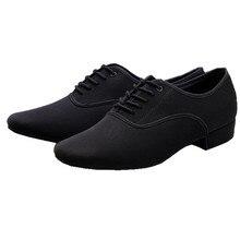 Chaussures de danse latine en toile noire pour hommes, souliers de danse latine, Tango, grande taille, à talons bas, pour salle de bal