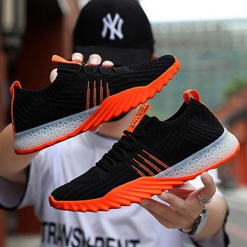 Oddychające męskie buty z dzianiny dorywczo siatka sportowa buty męskie do biegania lekkie siatkowe tkaniny rozciągliwe odkryte buty do biegania tanie i dobre opinie GPQPXW Mesh (air mesh) Przypadkowi buty Lace-up Pasuje prawda na wymiar weź swój normalny rozmiar Buty łodzi Wiosna jesień