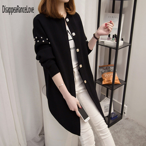 Image 4 - 2019 DRL autumn and winter medium long sweater beading rivets female cardigan loose soild O neck sweater top fashion outerwear