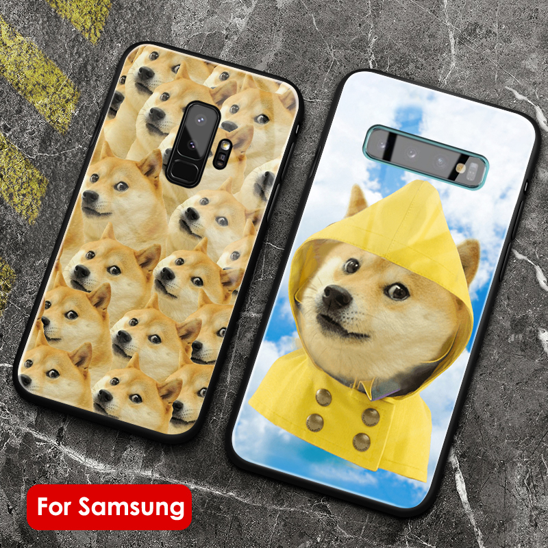 DOGE Meme dog <font><b>Cute</b></font> soft silicone glass <font><b>Phone</b></font> <font><b>case</b></font> cover shell for <font><b>Samsung</b></font> Galaxy S8 <font><b>S9</b></font> S10e S10 Note 8 9 10 Plus image