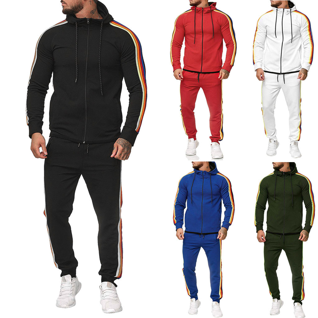2019 Plus Size L-5XL Mens Sets Mens Fashion Jacket And Sport Pants  2pcs Outfits Set Tracksuit Men Casual Sports Suit Streetwear