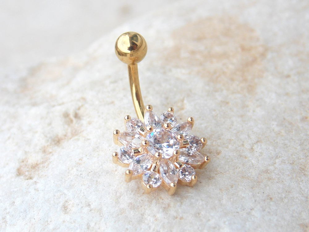 Hea7c9ddba3774a139b4712e3af9261dbC Navel Piercing Body Jewelry Crystal Flower Belly Button Ring