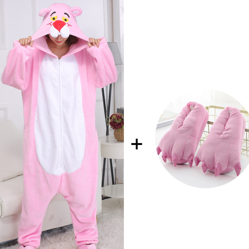 Pink Panther Kygurumi Animal Pajamas Zippers Cartoon Onesies For Adults One-Piece Pijamas Cosplay Costume For Halloween Party
