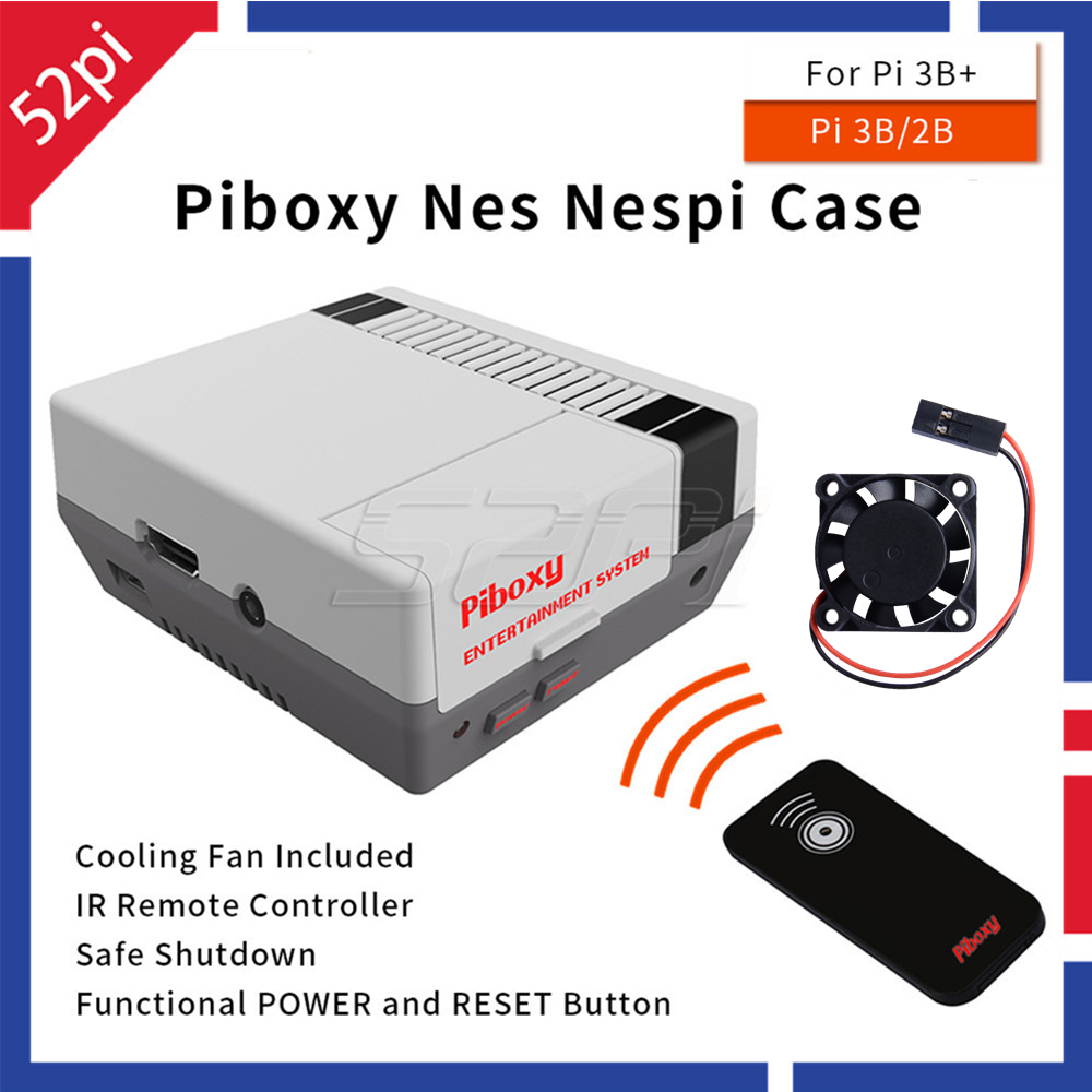 52Pi Piboxy NES NESPi Case With IR Remote Functional Power Reset Shutdown Button Control Cooling Fan For Raspberry Pi 3B+ / 3B