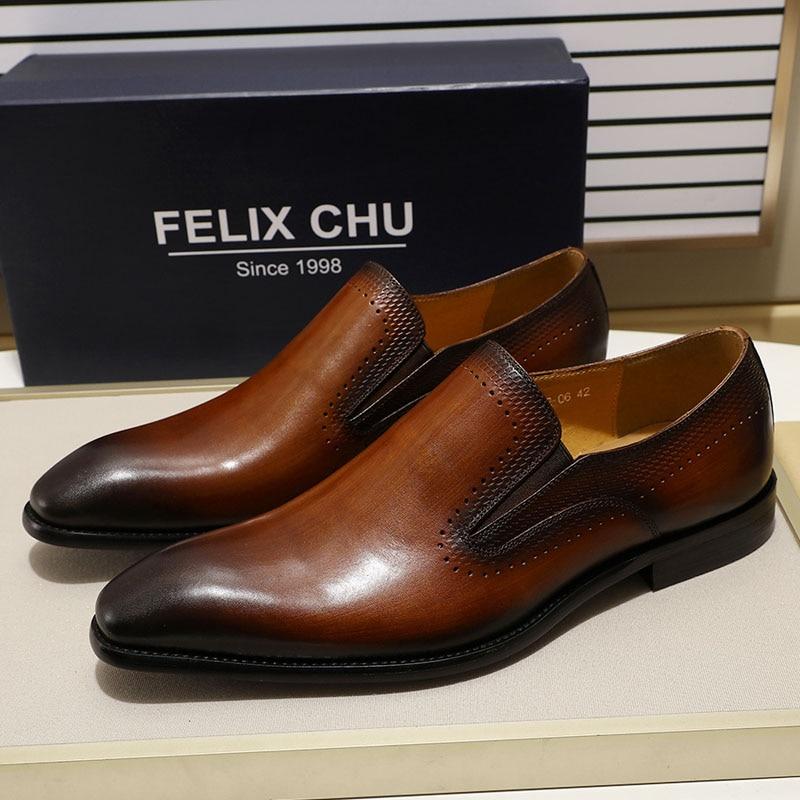 フェリックス CHU New 男性靴無地つま先男性の靴黒本革フォーマルな靴メンズウェディングパーティードレスシューズ  グループ上の 靴 からの 正式な靴 の中 1