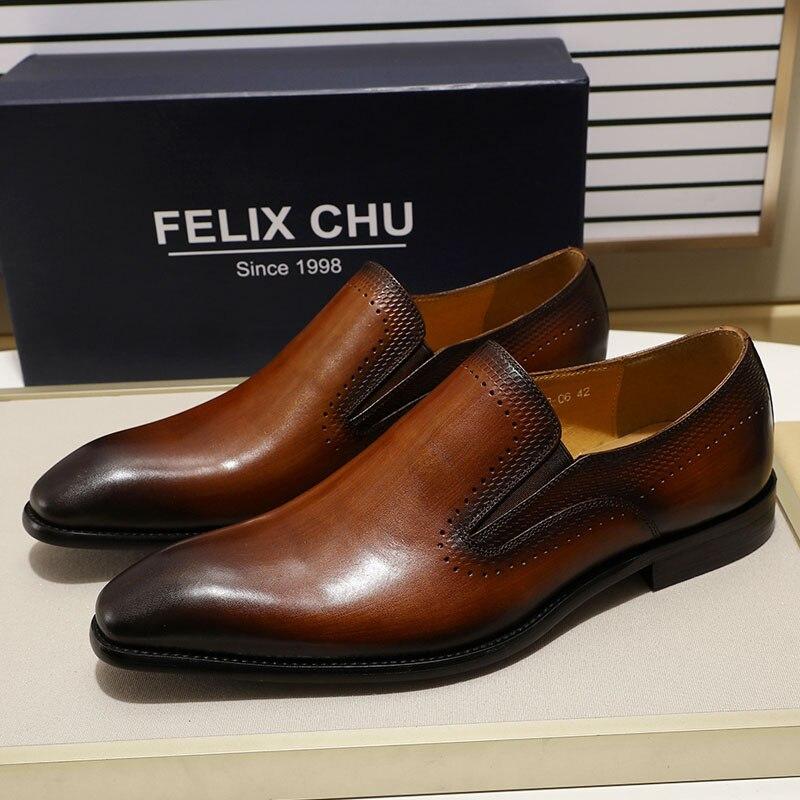 FELIX CHU nouveaux hommes chaussures plaine Toe hommes mocassins chaussures noir en cuir véritable sans lacet chaussures formelles hommes de mariage robe chaussures-in Chaussures d'affaires from Chaussures    1