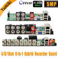 6 ב 1 H.265 + 16ch/8ch/4ch AHD DVR לוח עבור AHD 5MP 4MP 1080P 720P מצלמה לחסוך גדול RAM HDD Xmeye Onvif טלוויזיה במעגל סגור DVR לוח AHD DVR