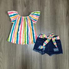 new arrivals summer baby girlsr ipped jeans shorts children clothes boutique tie knot top serape Color stripe  denims shorts