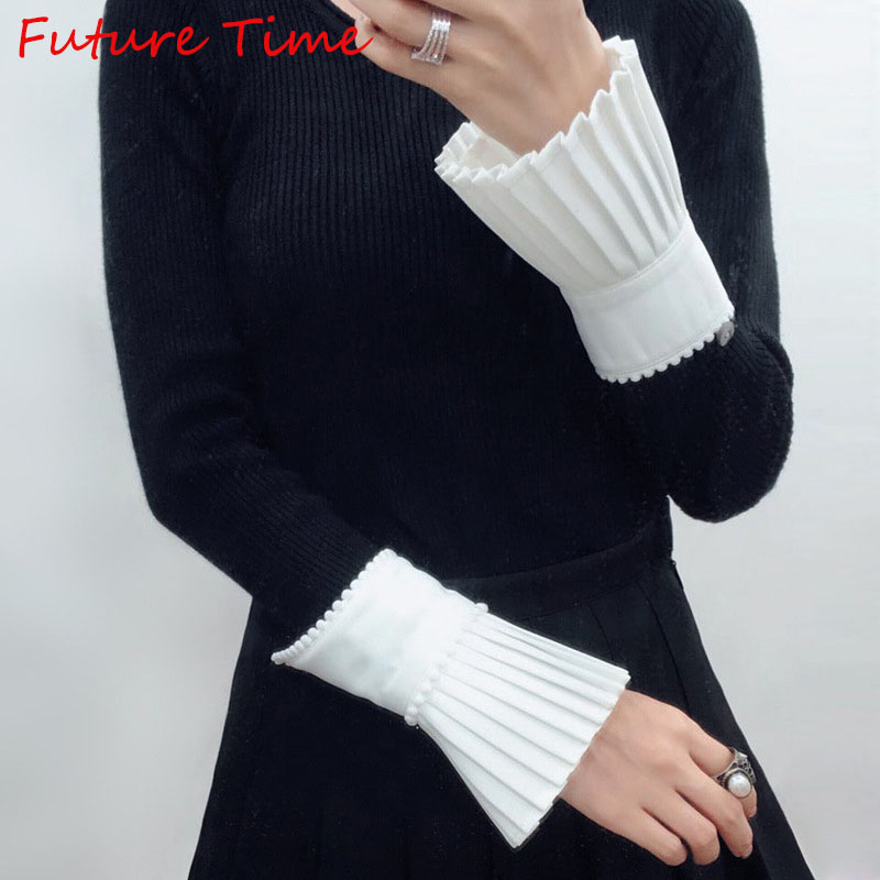 Future Time Summer New Joker Solid Color Lace Patchwork Pleated Sleeve Women UV Sun Protective Sleeves White Fingerless Gloves