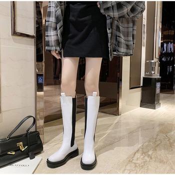 Damskie buty do kolan Damskie długie buty Jesienna platforma Wsuwane buty Chelsea Prawdziwej skóry Antypoślizgowe zimowe czarne buty 2021 tanie i dobre opinie FEBX CN (pochodzenie) Over-the-knee Plac toe Zima RUBBER Med (3 cm-5 cm) 3-5 cm Slip-on Stałe HFD8357 HFD8358 Pasuje prawda na wymiar weź swój normalny rozmiar