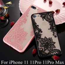KISSCASE için dantel iPhone için kılıf 11 durumda 11Pro 11Pro MAX kapak çiçek Coque iPhone 11Pro MAX 11 кружево чехол на айфон 11pro 11
