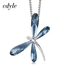 Cdyle elegante moda azul cristal libélula nupcial pingente de casamento charme colar corrente para as mulheres jóias pescoço acessórios