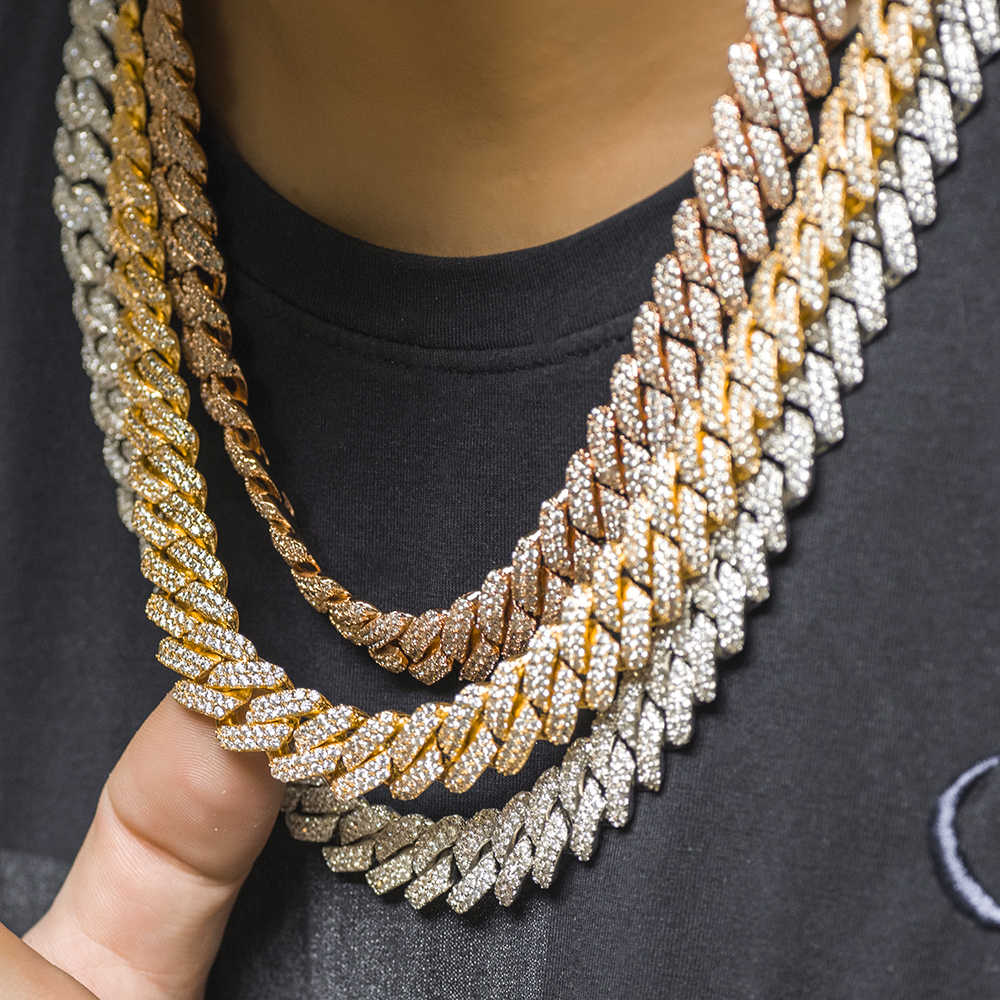 12mm PRONG Cuban Link Choker Full Iced OUT CHAIN พ่อเครื่องประดับ