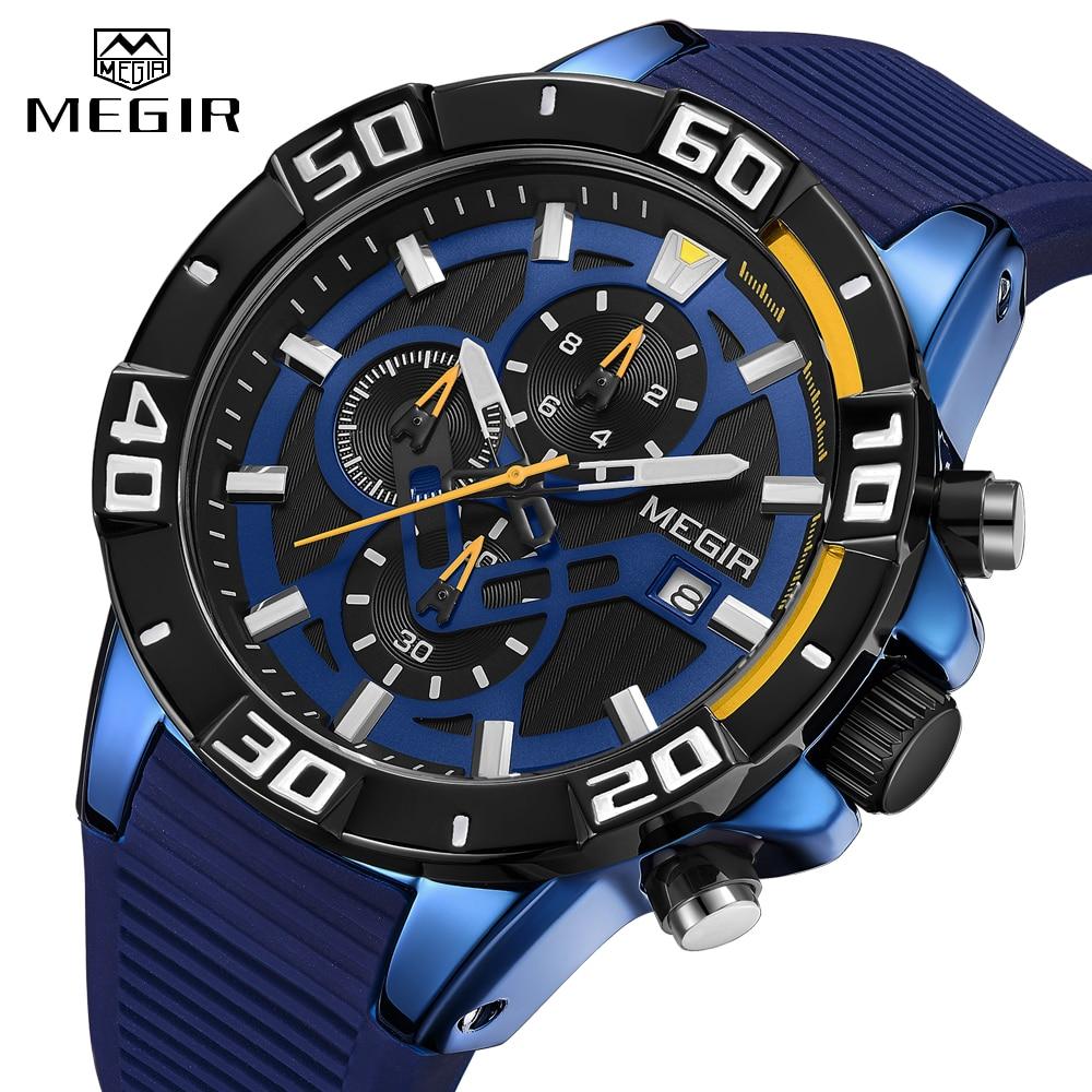 MEGIR Fashion Mens Watches Luxury Brand WristWatch Sport Quartz Blue Watch Men Waterproof Silicone Chronograph Relogio Masculino