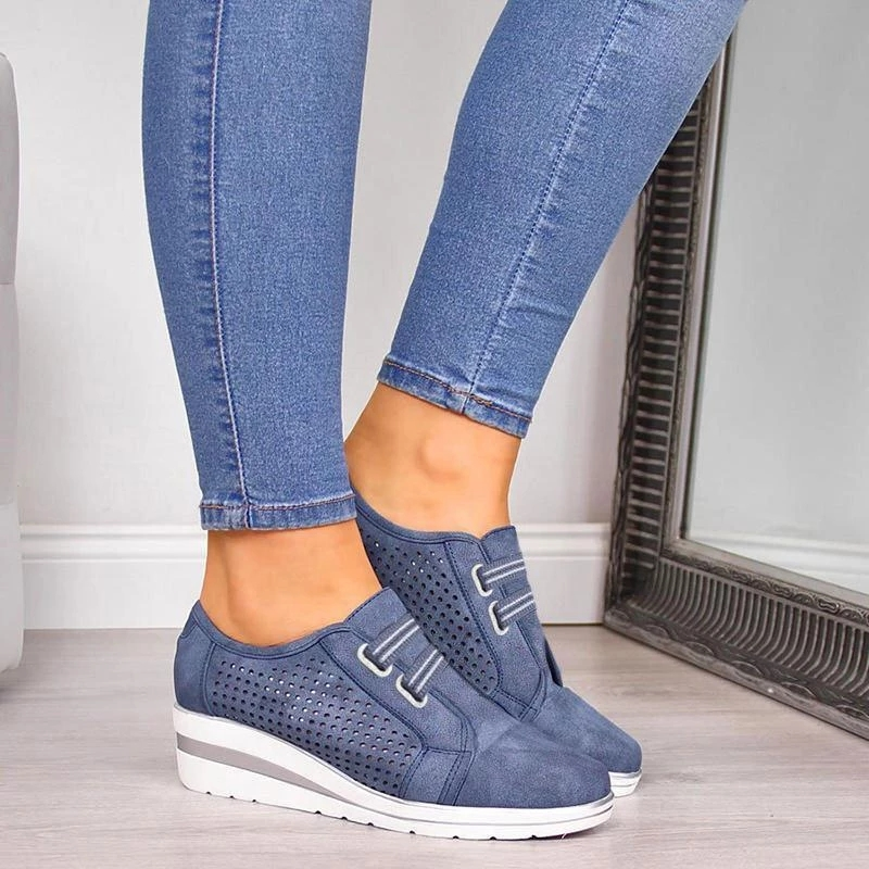 Flock New Lady Casual Women Sneakers Leisure Platform Chunky Shoes High Heel Height Increasing Shoes Women Flats Zapatos Mujer