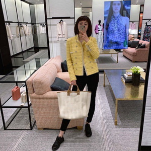 Image 2 - CH009 New spring style. Lemon yellow coat. Knit coat.Lined with silk 100%