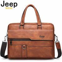 Jeep buluo homens maleta saco de negócios alta qualidade famosa marca couro ombro sacos do mensageiro bolsa escritório 13.3 polegada portátil