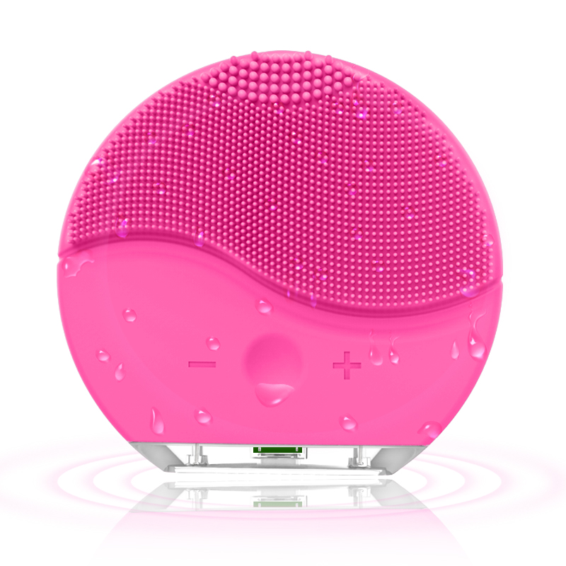 Mini Electric Face Cleansing Brush  Silicone Sonic Pore Facial Cleansing Waterproof Face Scrubber Wireless Charging