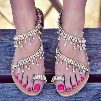 Γυναικεία καλοκαιρινά σανδάλια με κρυσταλλάκια
