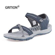 GRITION damskie sandały letnie odkryte płaskie plażowe z wystającym palcem obuwie damskie spacery trekkingowe lekkie modne sandały