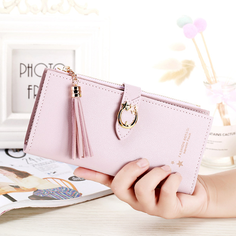 2019 new ladies buckle wallet woman tassel two fold card pack coin purse long section women