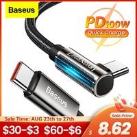 Baseus pd 100ワットusbタイプc usb cケーブル5A急速充電器USB-C 90度日付ケーブルxiaomiサムスンS21タイプcコード