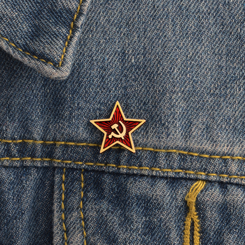 Hammer Sickle Communist Brooch Soviet Badge And Symbol Brooch Soviet Marxist Medal Insignia Badge Free Shipping