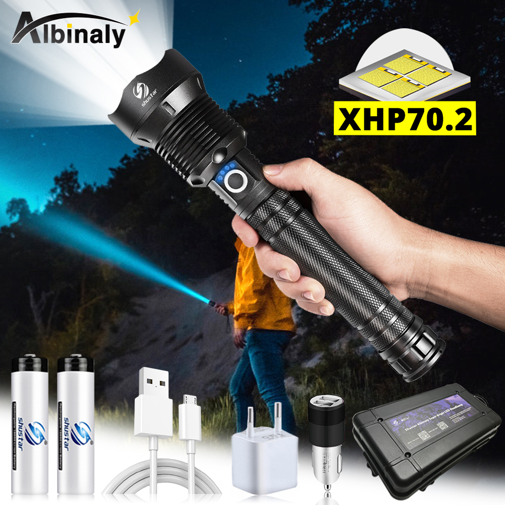 Super Bright Powerful LED Flashlight With XHP 70.2 Lamp Bead Tactical LED Torch Support Zoom 3 Lighting Modes Portable Lantern