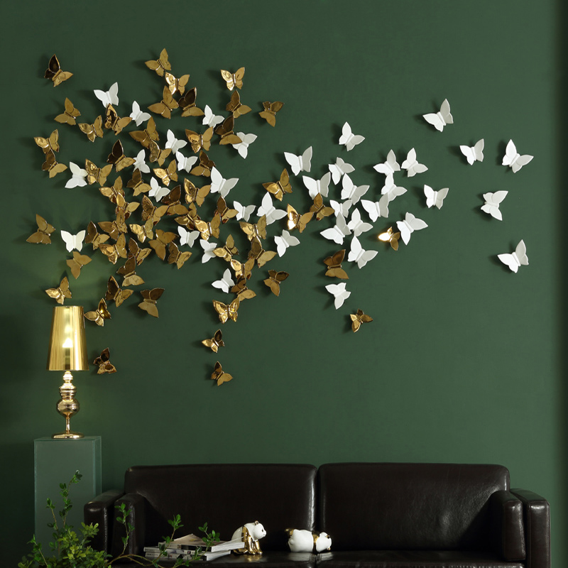 3D Ceramic Butterfly Mural Wall Poster Ornaments TV Background Decoration Artware Accessories Creative Gift